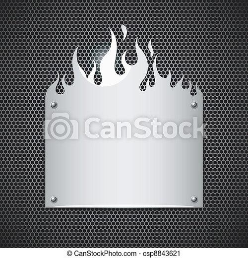 stahl, rostfrei, feuerflammen, feuer, vektor - csp8843621