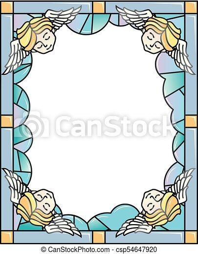 Stained glass angel clouds frame illustration. Colorful frame ...