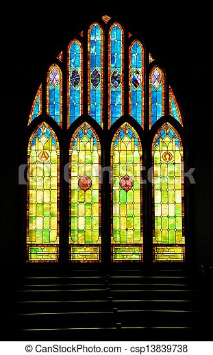 Stained Glass Christian Church Window in Hawaii - csp13839738