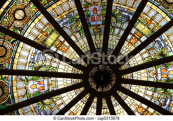 Stained Glass Circle 2 - csp0313978