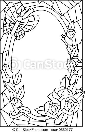 stained glass floral coloring page black and white illustration