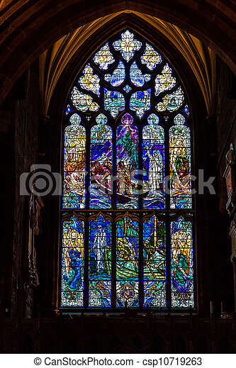 stained glass in a church window - csp10719263