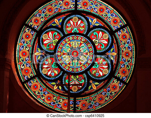 Stained glass in Catholic church - csp6410925