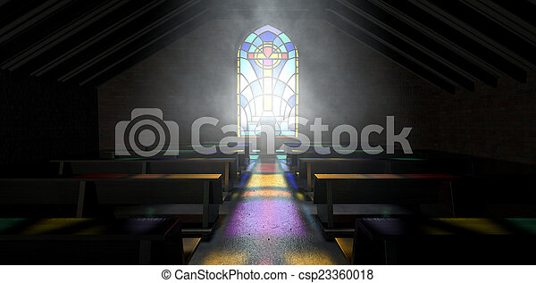 Stained Glass Window Church - csp23360018