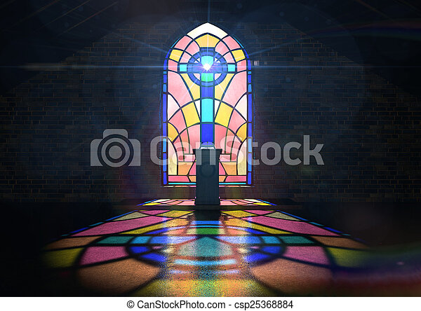 Stained Glass Window Church - csp25368884