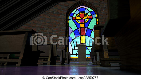 Stained Glass Window Church - csp23359767