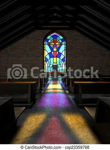 Stained Glass Window Church - csp23359768