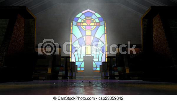 Stained Glass Window Church - csp23359842