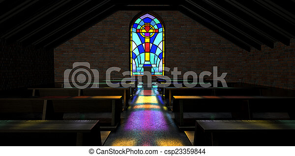 Stained Glass Window Church - csp23359844