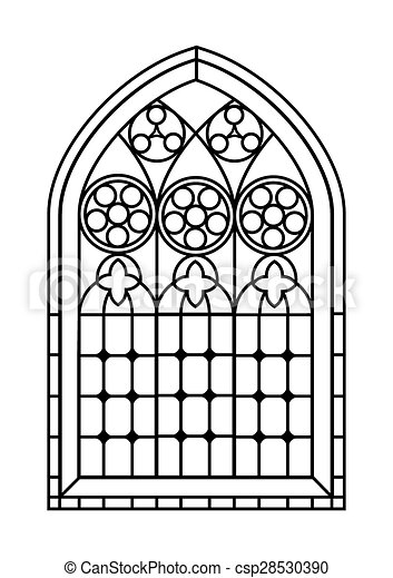 Stained glass window colouring page a gothic style for Pages for windows