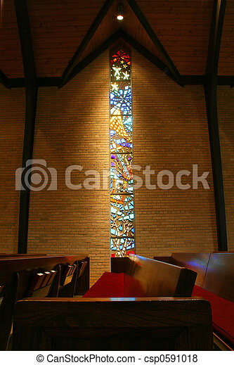 Stained glass window in a church - csp0591018