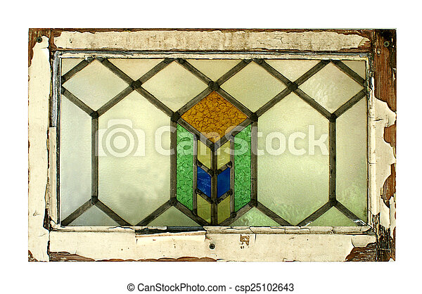 stained glass window with peeling frame stained glass window in a