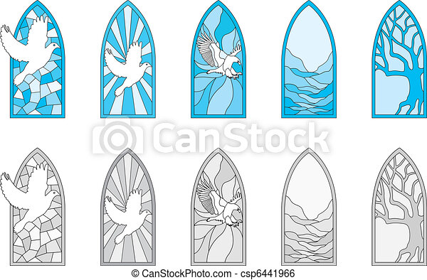 Stained Glass Windows Vector Art Depicting Isolated