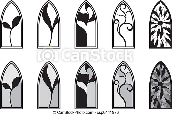 Stained Glass Windows A Set Of Gothic Style