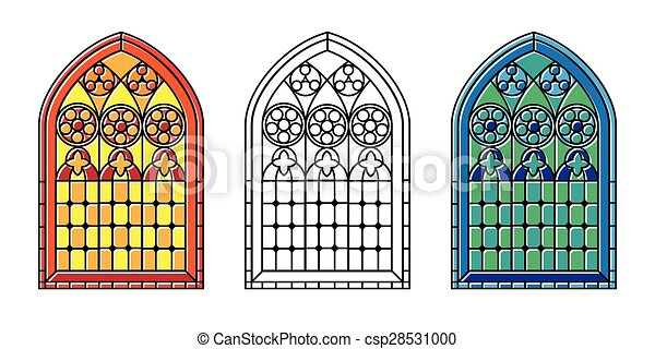 Stained Glass Windows A Set Of Gothic Style Window In