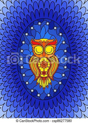 Stained glass with sleeping owl - csp86277580