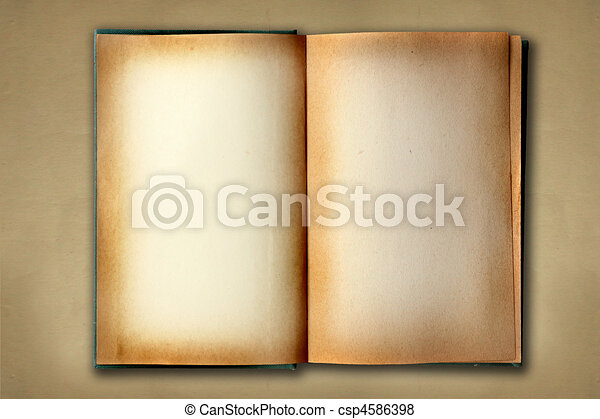 Stained Old Work Book Open On Distessed Background