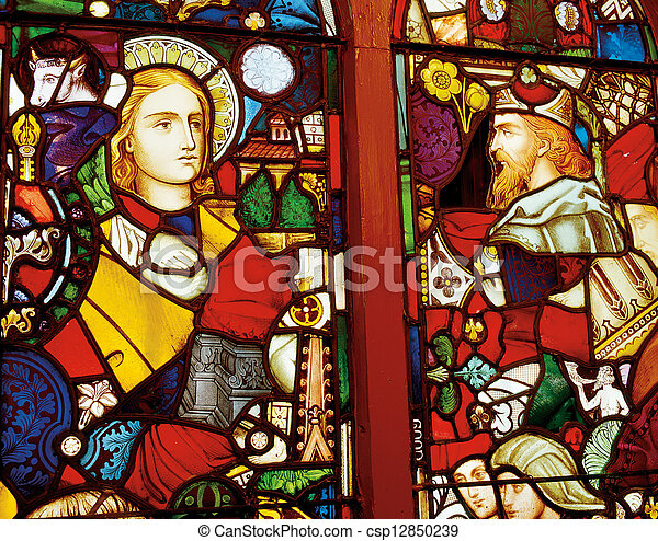 Stained window in the church with the religious motif - csp12850239