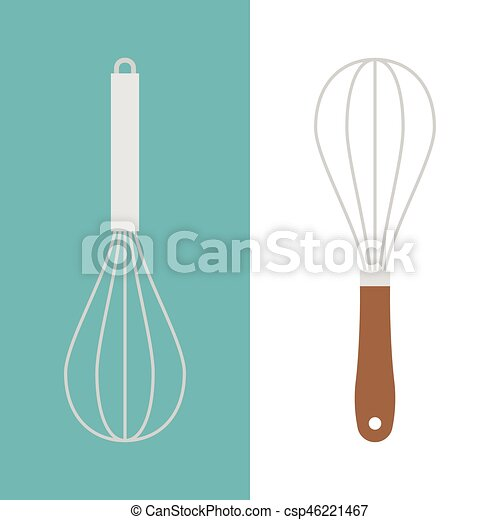stainless and wooden egg whisk icon, flat design vector - csp46221467