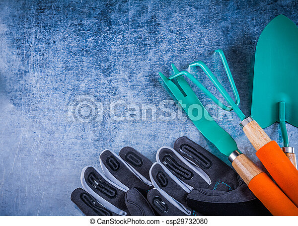 Stainless rake trowel root weeder protective gardening gloves ag - csp29732080