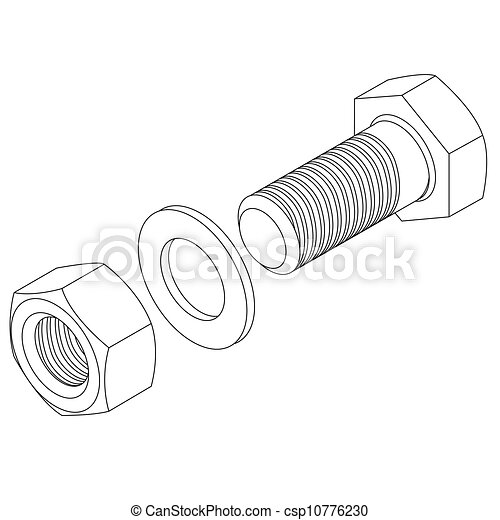 Stainless steel bolt and nut. - csp10776230
