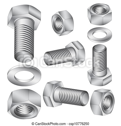 Stainless steel bolt and nut. Vector illustration. - csp10776250