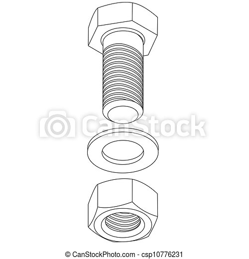 Stainless steel bolt and nut. Vector illustration. - csp10776231