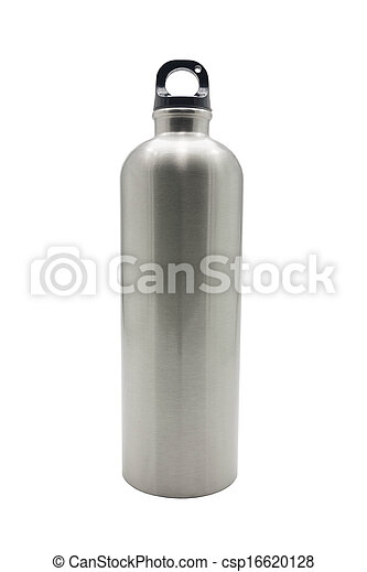 Stainless steel bottle on white background - csp16620128