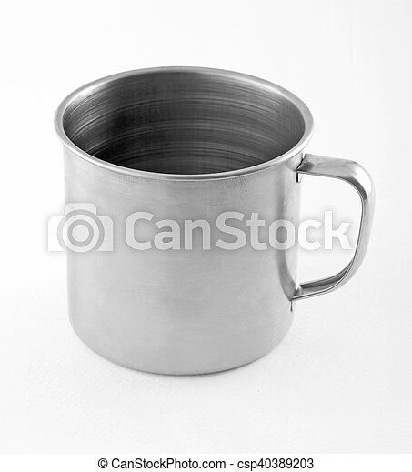 Stainless steel cup on white background. - csp40389203