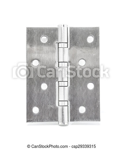 Stainless Steel Door Hinges On White Background - csp29339315