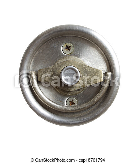 Stainless steel door knob isolated on white background - csp18761794