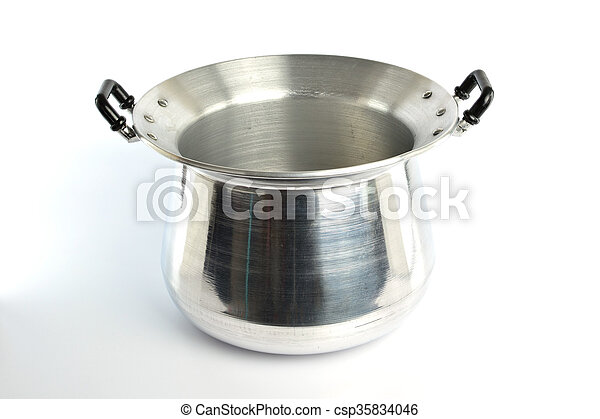 Stainless steel pot on white background - csp35834046