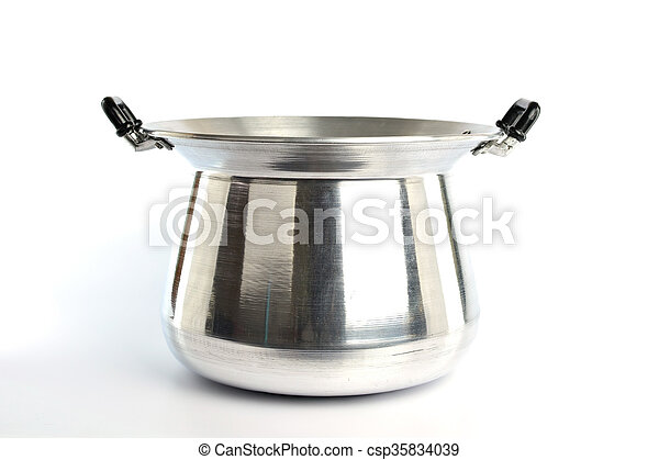 Stainless steel pot on white background - csp35834039