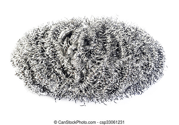 stainless steel scourer on white background - csp33061231