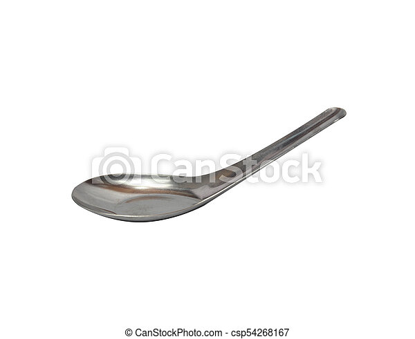 Stainless steel spoon on white background - csp54268167