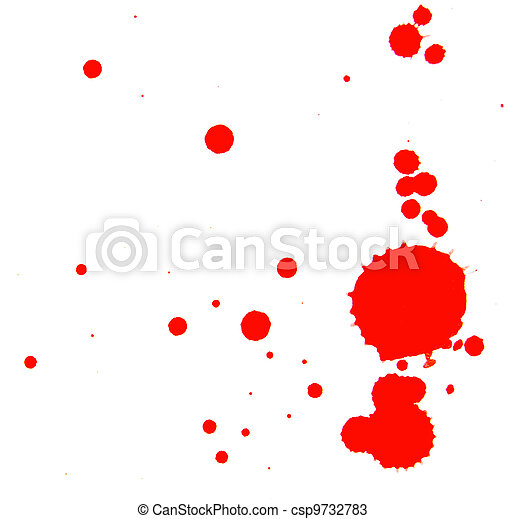Stains of a red paint. On a white background. - csp9732783