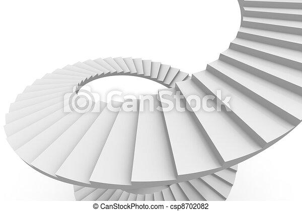 Escalera blanca en espiral. - csp8702082