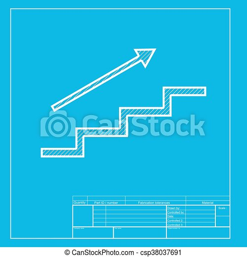 stair with arrow white section of icon on blueprint template