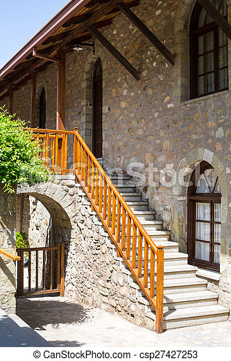 Staircase at Agios Stefanos St Stefan Monastery on Meteora cliff, Greece - csp27427253