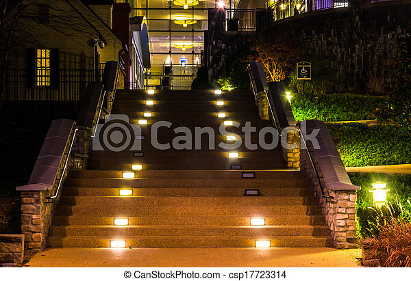 Staircase at night in National Harbor, Maryland.  - csp17723314