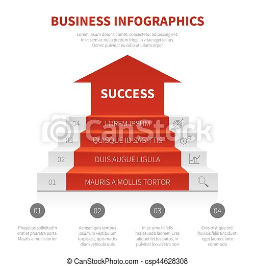 Staircase, business ladder, levels of success vector modern infographic, winning concept - csp44628308