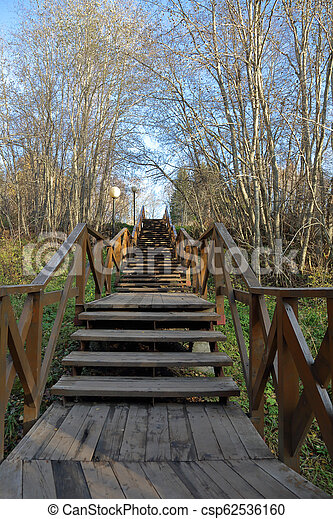 Staircase in the autumn park - csp62536160
