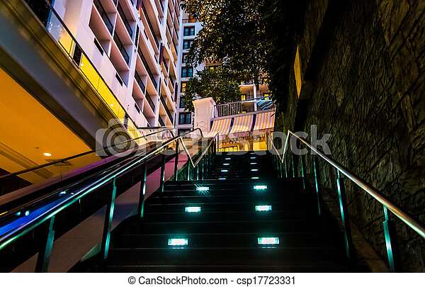 Staircase in the Gaylord National Resort, in National Harbor, Maryland. - csp17723331