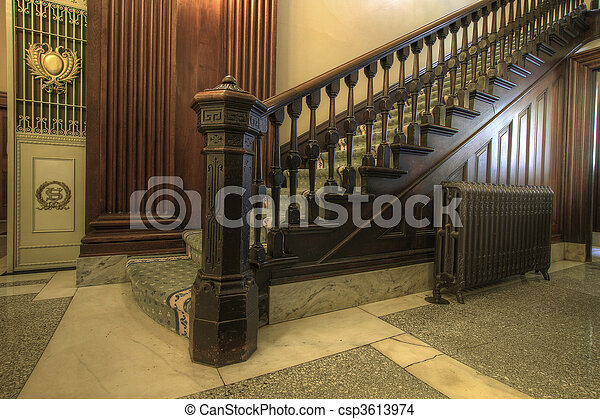Staircase inside Historic Courthouse - csp3613974