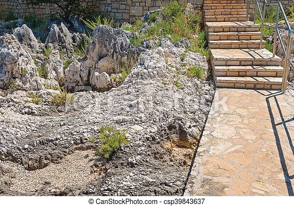 Staircase on the rocky beach in Istria - csp39843637