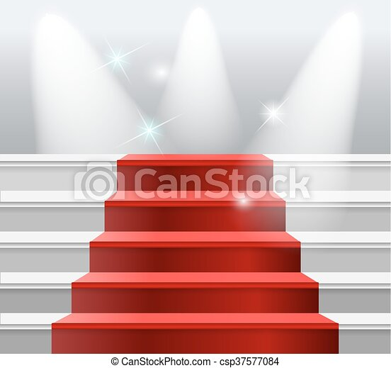staircase with red carpet - csp37577084