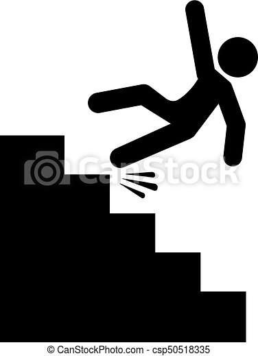 Stairs Falling Danger Vector Icon On White Background