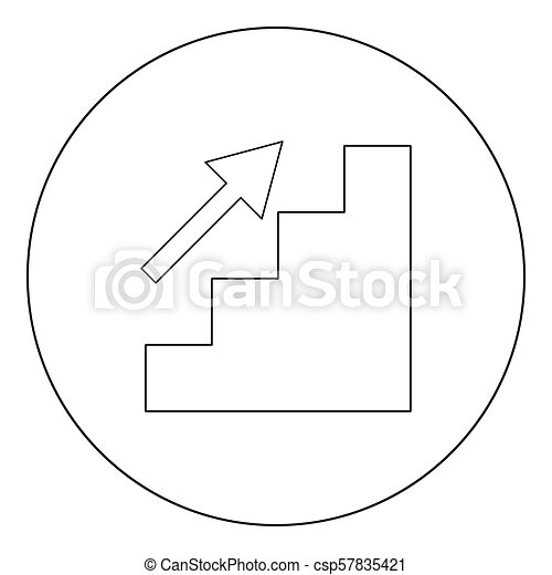 Stairs growth icon black color in circle - csp57835421