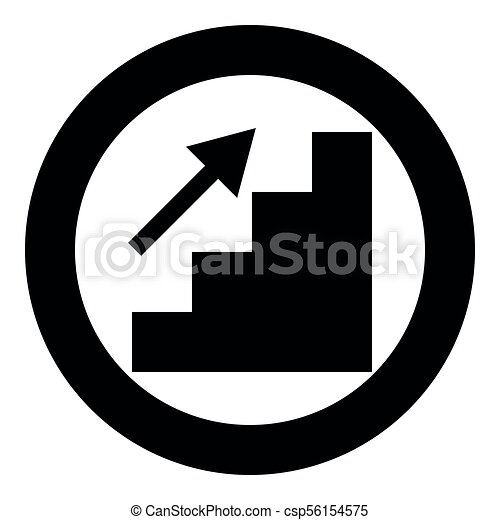 Stairs growth icon black color in circle - csp56154575