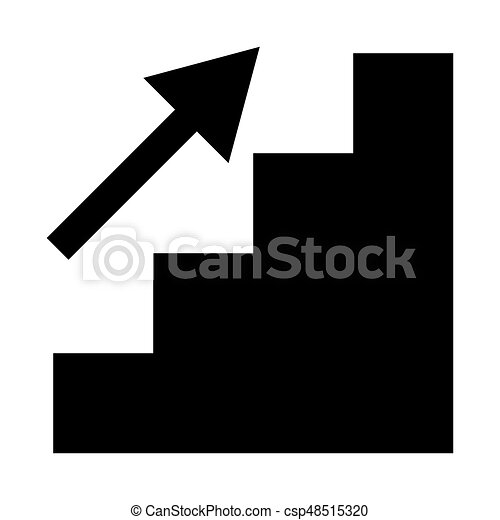 Stairs growth the black color icon . - csp48515320